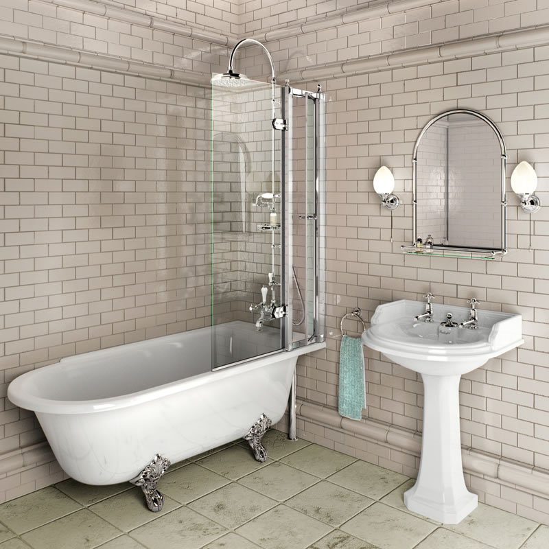 Burlington Hampton 170cm Right hand Shower Bath – Online 4 Bathrooms